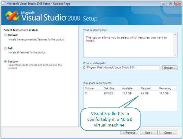 Figure 2. Size of installation. The required size for installing Visual Studio 2008 Professional is 4.4 GB. This Vista virtual machine has a disk of 40 GB.