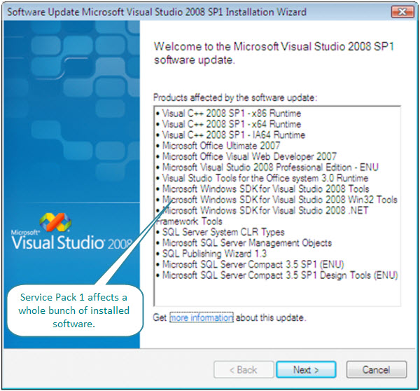 Figure 6. Installing Visual Studio 2008 SP1 on a Vista virtual machine. Many pieces of software (including Microsoft Office Ultimate 2007, SQL Server, etc.) are impacted.