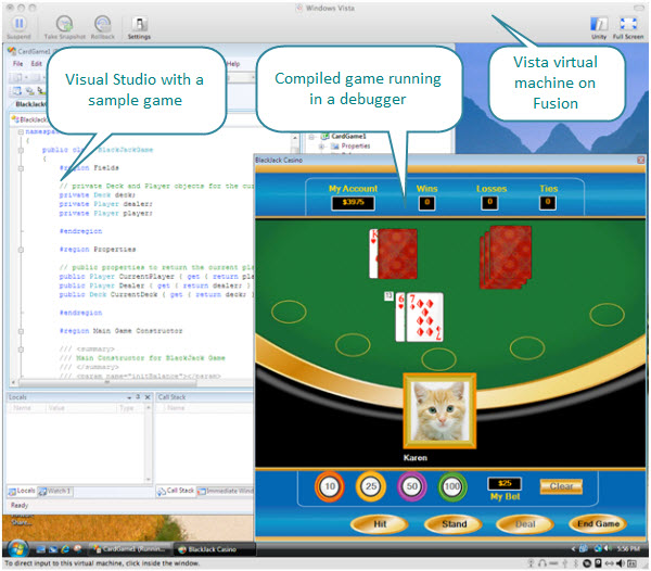 Figure 6. A blackjack game created with Card Game Starter Kit. Visual Studio and the compiled game are running inside a Vista virtual machine created with Fusion on a Mac.