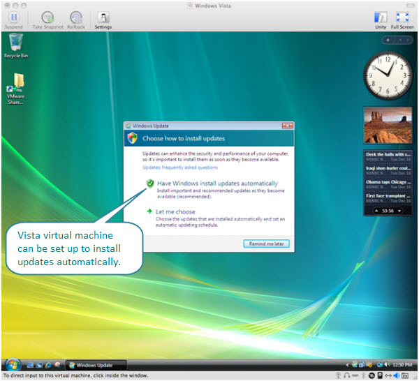 Figure 8. Fusion won't take out the ability of Windows Vista to install updates automatically. Vista virtual machine uses the same Internet connection used by the host OS X.