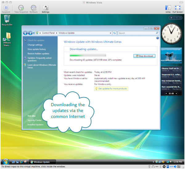 Figure 9. After the initial installation of Windows Vista Ultimate using Fusion and turning on the auto update feature, a whole bunch of updates are being downloaded and installed on this virtual machine.