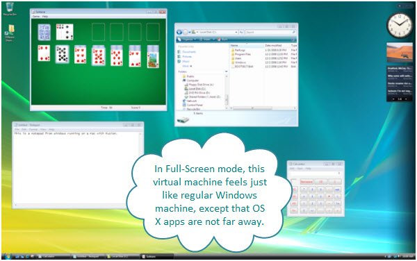 Figure 2. Windows Vista in Full Screen mode on Mac OS X using Fusion. Entire screen of the Mac is now occupied by Vista virtual machine. Mac OS X apps are behind this.