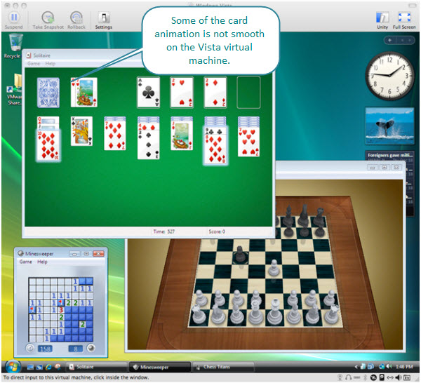 Figure 12. Playing games on Windows Vista Ultimate virtual machine created with Fusion on an iMac. Here Solitaire, Minesweeper, and Chess Titans are shown.