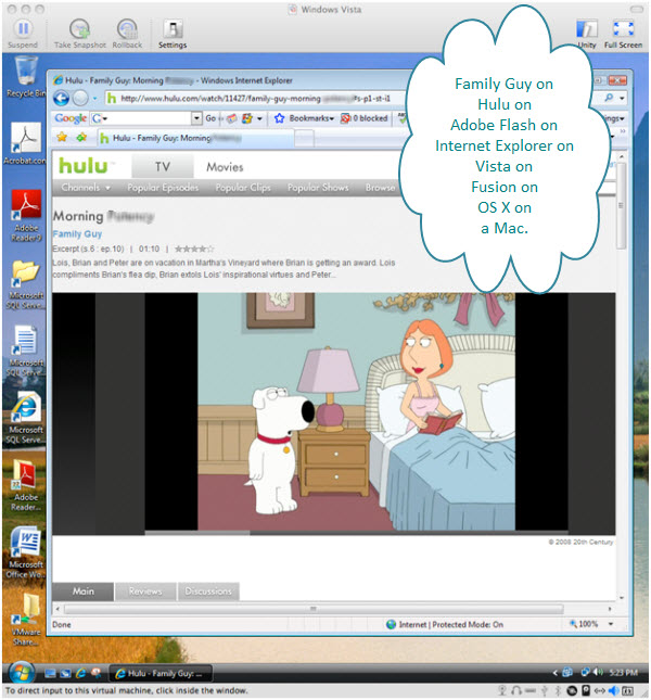 Figure 5. Watching Family Guy on hulu from Adobe Flash plug-in for Internet Explorer inside a Windows Vista virtual machine created with VMware Fusion on a Mac. So many possibilities, so little time.
