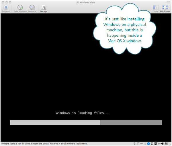 Figure 8. Windows Vista getting ready to install on a Mac with Fusion. The virtual machine is contained inside a Fusion window. The Windows OS does not take over the real Mac machine.