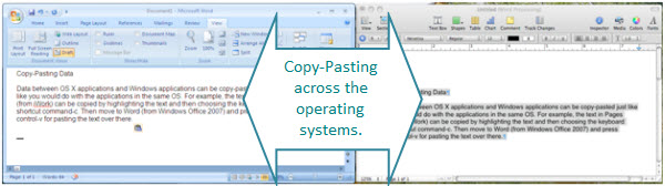 Figure 3. Copy-Pasting data from Pages (an OS X application) into Word 2007 (a Windows application) running on a Vista virtual machine created with Fusion.