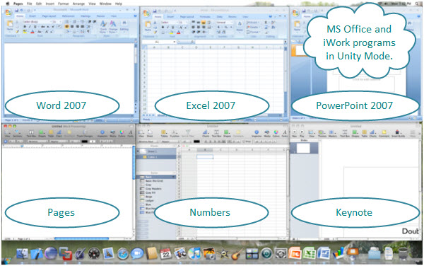 Figure 2. The Office 2007 programs shown in the Unity mode. Applications on top are: Word, Excel, and PowerPoint – these are from Vista virtual machine. Application in bottom: Pages, Numbers, and Keynote – these are from Mac OS X. All these applications are on a Mac.