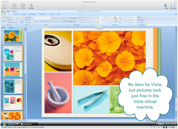 Figure 6. A very graphical slide of PowerPoint 2007 inside a Vista virtual machine created with VMware Fusion. The colors and the detail of this image is fine from the Vista virtual machine on a Mac.