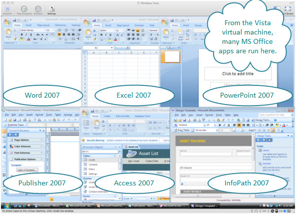 Figure 1. Microsoft Office 2007 Ultimate programs opened inside a Windows Vista virtual machine. The programs included here are Word, Excel, PowerPoint, Publisher, Access, and InfoPath.
