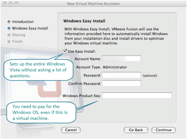 Figure 3. Windows Easy Install Dialog Box. Just fill in the basic information and Fusion will take care of the rest.