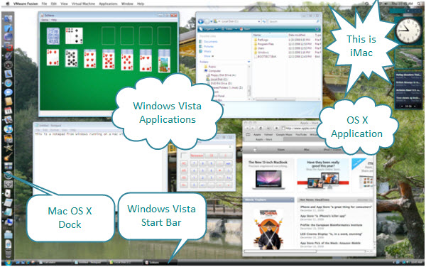 Figure 3. Windows Vista in Unity mode. Here, the Vista applications are displayed in their own separate windows alongside the Mac OS X applications. Here, Safari is shown alongside other windows applications. The Mac OS X dock is on the left and Windows Start bar is on the bottom.