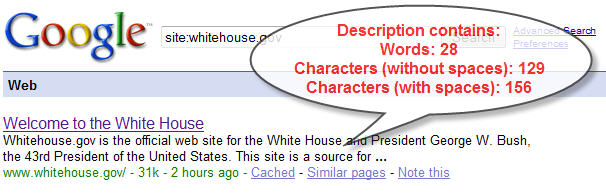 Figure 2. Description of White House site on Google (from the description meta tag)