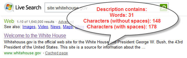 Figure 3. Description of White House site on MSN (from the description meta tag)