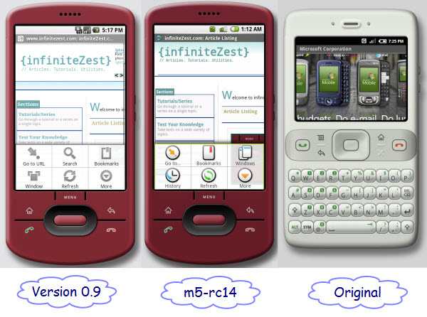 Figure 6. The browser in different versions of Android