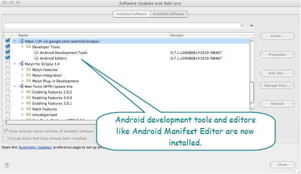 Figure 8. Installing the Android plugin for Eclipse. This will install the development tools and editors.