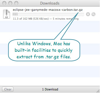 Figure 2. Downloading eclipse-jee-ganymede-macosx-carbon.tar.gz for installing Eclipse on Mac