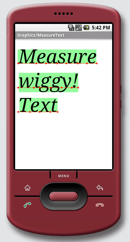 Figure 11. Graphics / Measure Text on Android