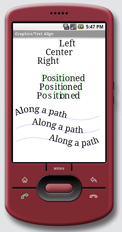 Figure 15. Graphics / Text Align on Android