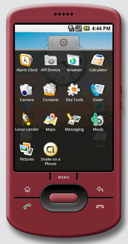 Figure 2. Applications on Google Android phone. This transparent window is shown when the main tab is clicked.