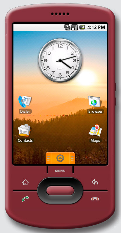 Figure 1. Main (Home) screen of Android in version 0.9. Only the primary applications (Dialer, Browser, Contacts, and Maps) are shown. The Menu tab holds rest of the applications.