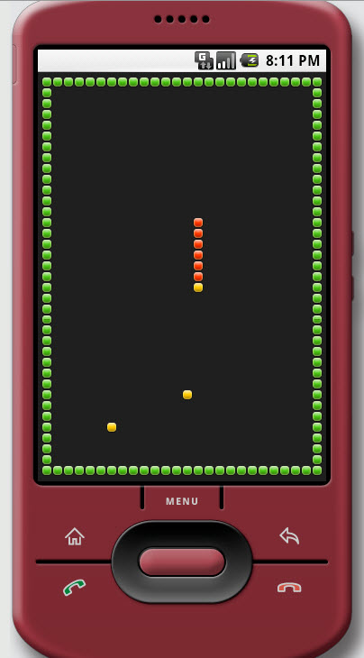 Figure 10. Snake example in the Android Emulator on a Mac