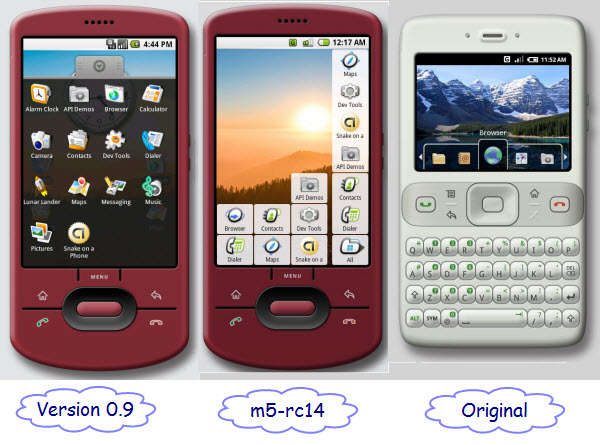 Figure 3. Android's main screen has gone from a Mac style Dock to iPhone style display of icons to, perhaps, its own style