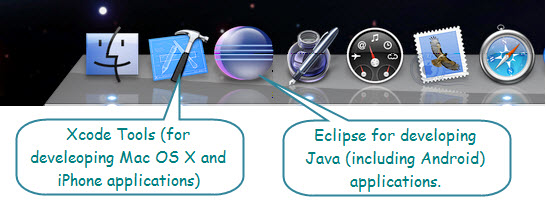 Figure 5. The Eclipse icon (next to Xcode Tools) in the Dock on a Mac. Here Xcode is for iPhone and Eclipse is for Android.