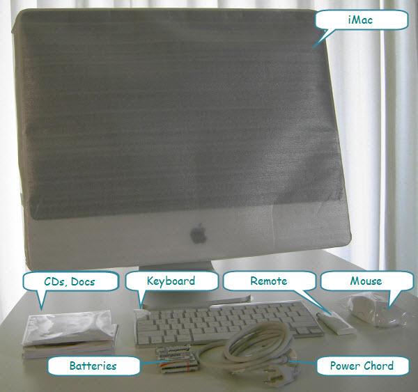 Figure 13. Various items shipped with iMac (annotated)