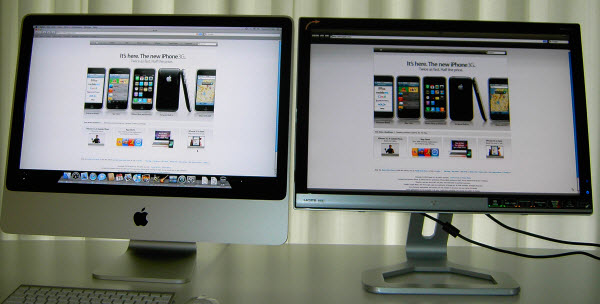 Figure 11. Apple Website shown in the Safari web browser on iMac and Gateway 24-inch screen side by side