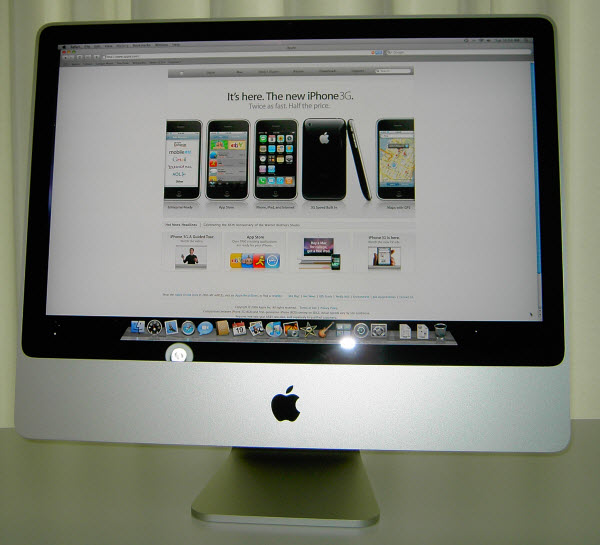 Figure 9. Apple Website shown in the Safari web browser on Apple iMac 24-inch screen