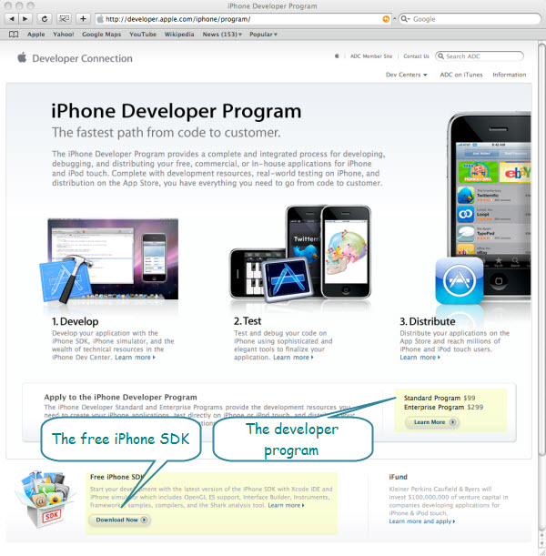 Figure 1. The iPhone Developer Program and free iPhone SDK