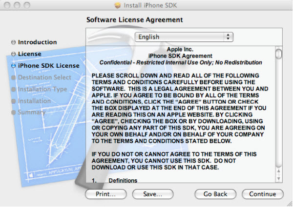 Figure 4. The iPhone SDK Software License Agreement