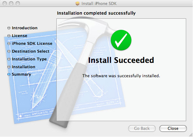 Figure 8. Successful installation of iPhone SDK