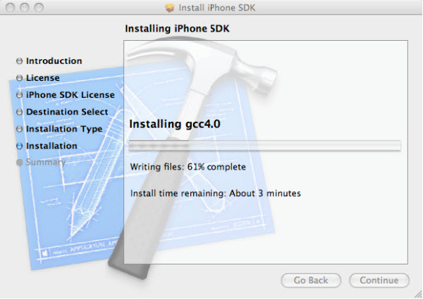 Figure 7. Installing iPhone SDK