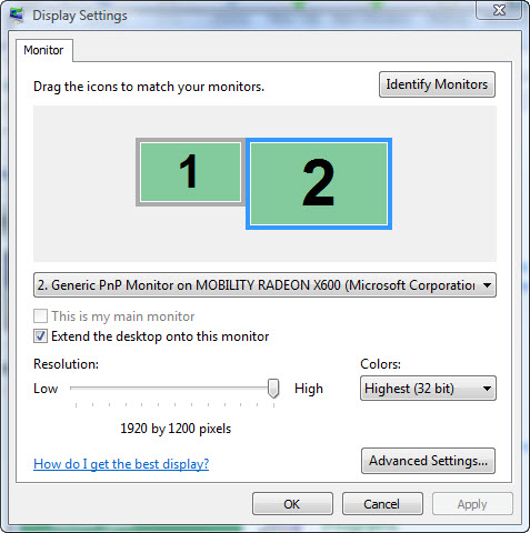 Figure 16. Display Settings for the second monitor
