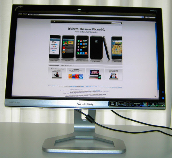 Figure 10. Apple Website shown in the Safari web browser on Gateway 24-inch screen