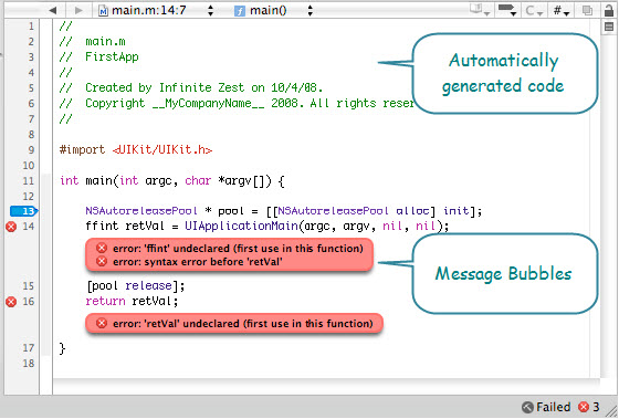 Figure 7. The Source Editor in Xcode. Code is color-coded. In the figure below, error (ffint type) is introduced to show message bubbles right in the editor, where the error has occurred.