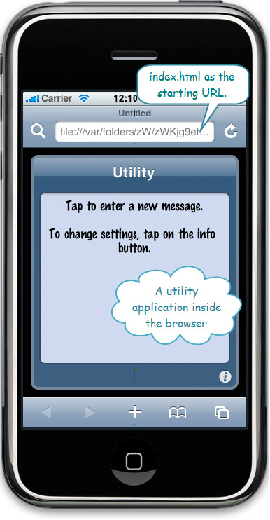 Figure 8. A utility web application with Dashcode - shown in the iPhone Simulator. This does not require the iPhone SDK.