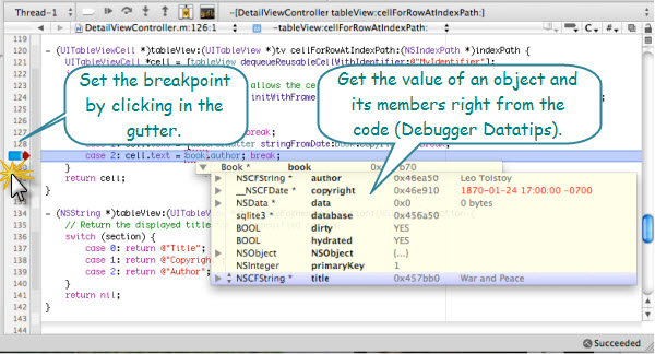 Figure 1. Debugging from the source code editor window of Xcode. There is a debugger bar at the top of the window. Variable values can be obtained by moving the cursor over to the variable.