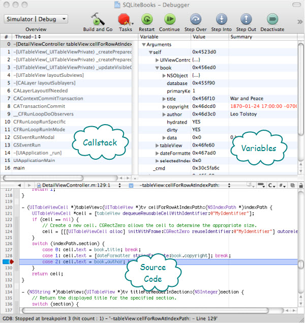 Figure 3. The Debugger window from Xcode. In addition to the code window, you have call stack and variable information.
