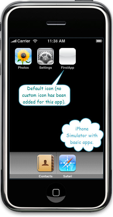 Figure 5. The default icon for iPhone First App is in the main screen of iPhone. Since no special icon is made for this application, an empty/default white icon is shown.