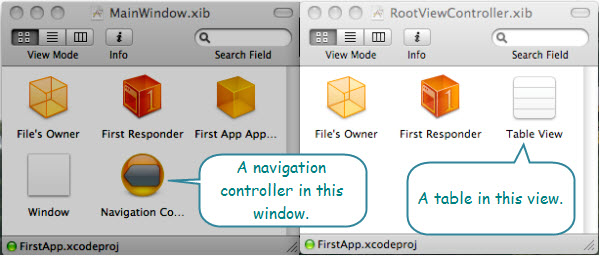 Figure 3. The Document windows for the xib files. This is shown in the icon view mode. One has a window object and the other has a table view. One represents the application and the other represents a specific view.