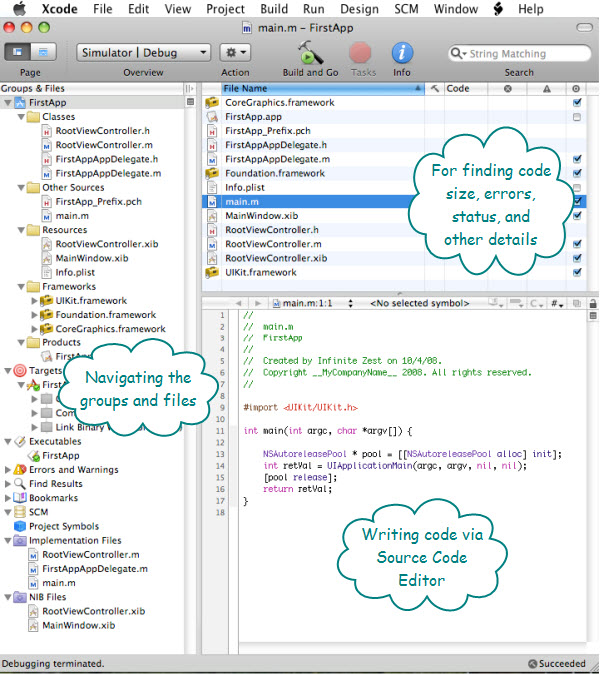 Figure 1. The Project Window of Xcode with a simple iPhone application open. The Source Editor shows the main.m file which contains the main() method, where every applications starts its execution.
