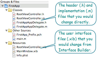 Figure 1. The source code files that you would change in this project. You would change the app delegate and controller class source files directly. The user interface files are manipulated via Interface Builder.