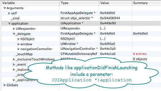 Figure 1. The variable window of an iPhone application. Here, application object is of type UIApplication; and it has a delegate associated with it (called FirstAppAppDelegate).