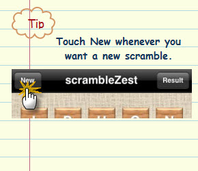 Figure 1. Touch New whenever you want a new scramble.
