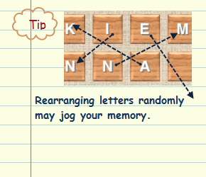 Figure 11. Rearranging letters randomly may jog your memory.