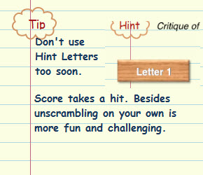 Figure 9. Don't use Hint Letters too soon. You will take a hit on the score.