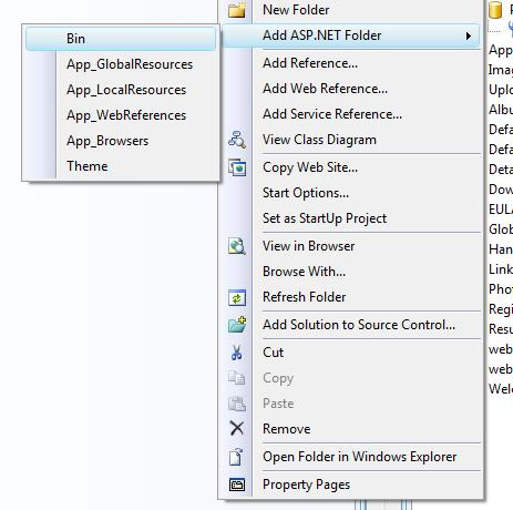 Figure 1. ASP.NET folders with special meaning