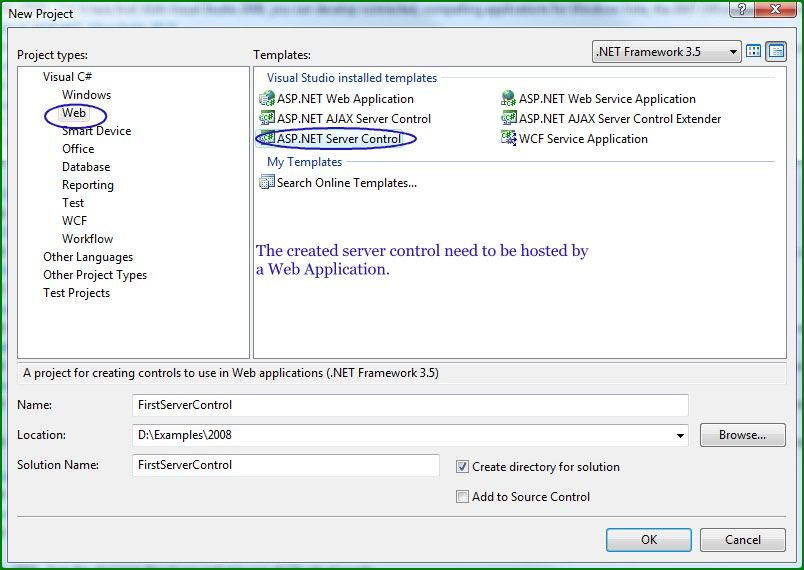 Figure 1. The New Project Window for ASP.NET Server Control